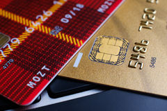 Plastic payment card chip Royalty Free Stock Photography