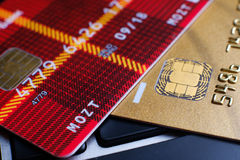 Plastic payment card chip Royalty Free Stock Photo