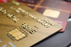 Plastic payment card chip Stock Photos