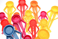 Plastic pegs stock photography
