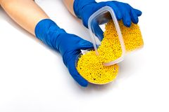 Plastic pellets . Colorant for polymers in granules. Hands in gloves takes plastic pellets.  Stock Image