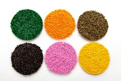 Plastic pellets . Colorant for polymers in granules. Polyethylene colour granules Stock Photo