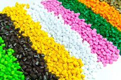 Plastic pellets . Plastic granules after processing .Polymer. Agent background black chemical chemistry extrusion factory grain granulate heap high density royalty free stock image