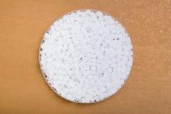 Plastic pellets. Transparent Polyethylene granules. Plastic Raw material .High Density Polyethylene PE-HD. PE-LD. Plastic pellets. Transparent Polyethylene royalty free stock photos