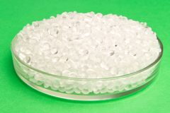 Plastic pellets. Transparent Polyethylene granules. Plastic Raw. Material .High Density Polyethylene (PE-HD). PE-LD hdpe idpe polypropylene resin stock images