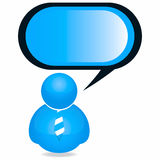Plastic Person Icon with Speech Bubble Royalty Free Stock Photography