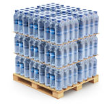 Plastic PET bottles on the pallet. Plastic PET bottles on the wooden pallet - 3D illustration Stock Image