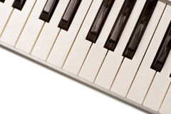 Plastic piano keyboard. Looking down on a plastic piano keyboard Royalty Free Stock Photography
