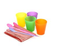 Plastic picnic tableware  on white Stock Photography