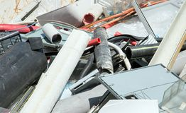 Plastic pieces in special waste landfill controlled Stock Photo