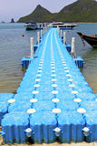 Plastic pier  coastline of a  green lagoon  kho phangan   bay Stock Image