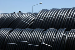 Plastic pipe. Inside, futuristic view, perspective, light Stock Photo
