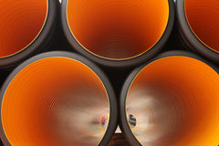 Plastic pipe. Inside, futuristic view, perspective, light Stock Image