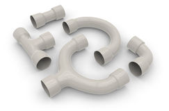 Plastic pipe fittings Stock Photo
