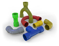 Plastic pipe fittings Royalty Free Stock Photo