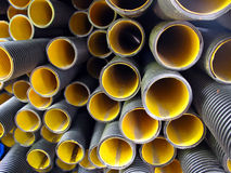 Plastic Pipes. Stack of plastic drainage pipes Royalty Free Stock Photography
