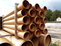 Plastic pipes. Arranged on heap plastic pipes Royalty Free Stock Photos