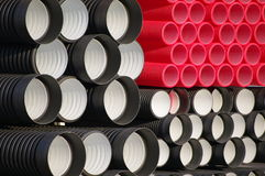 Plastic pipes. With different colors and sizes Royalty Free Stock Images