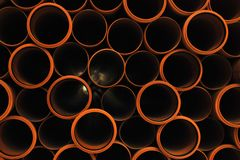 Plastic pipes. A lot of plastic pipes macro Royalty Free Stock Photos