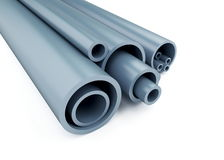 Plastic pipes. Are isolated on a white background Stock Photos