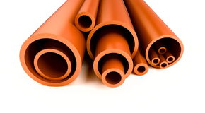 Plastic pipes. Are isolated on a white background Royalty Free Stock Image