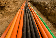 Plastic pipes with cables Royalty Free Stock Photos