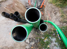 Plastic pipes with cables Royalty Free Stock Image