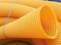 Corrugated PVC pipes Royalty Free Stock Photo