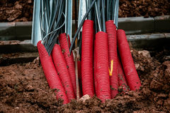 Plastic pipes containing electric cables Royalty Free Stock Image