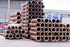 Plastic pipes in a factory or warehouse yard Stock Images
