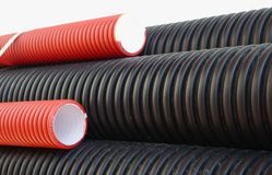 Plastic pipes industriell industry line electricity power current Stock Image