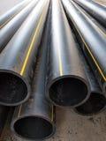 Plastic pipes of large diameter black closeup Stock Image