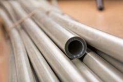 Plastic pipes macro Stock Image