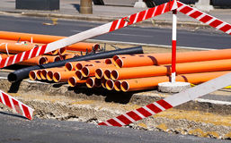 Plastic pipes at the road construction Stock Photos