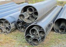 Plastic pipes for transporting water and gas Stock Photo