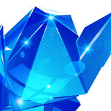 Plastic pixilated backdrop with glossy 3d object Stock Photo