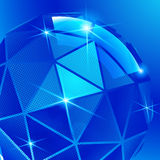 Plastic pixilated background with dimensional sphere Stock Image