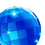 Plastic pixilated background with three-dimensional sphere, synthetic Stock Photo
