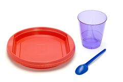 Plastic plate and cup royalty free stock photography