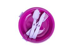 Plastic plate and cutlery. Set for food in the journey, on a robot or a picnic Royalty Free Stock Photos
