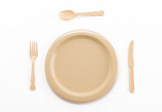 plastic plate spoon fork and knife Royalty Free Stock Images