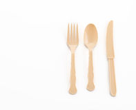 plastic plate spoon fork and knife Royalty Free Stock Photography