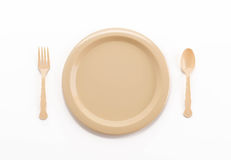 plastic plate spoon fork and knife Stock Photos