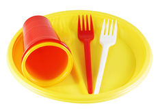 Plastic plates and forks Stock Image