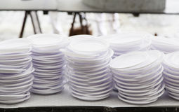 Plastic plates for party Royalty Free Stock Photos