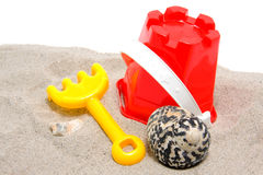 Plastic play toys for beach Stock Photos