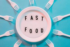 Plastic pollution anti fast food movement stock photo