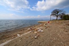 Plastic pollution on a beach of Lake Ohrid , Macedonia Stock Photography