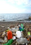 Plastic pollution on a beach of Lake Ohrid , Macedonia Stock Image