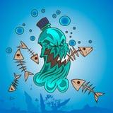 Plastic pollution in ocean. Monster bottle royalty free illustration